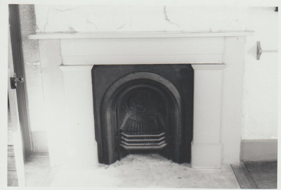 The upstairs fireplace at Bell House. The upstairs fireplace at Bell House.; La Roche, Alan; 1/04/1973; 2018.052.40