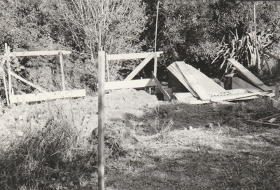 Beginning construction of Bycroft's waterwheel in Howick Historical Village.; La Roche, Alan; April 1991; P2021.86.14
