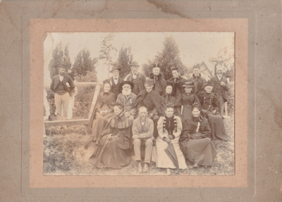 """50th Fencible Reunion showing some of the first settlers who arrived on the  """"Sir George Seymour"""" 1897 in front of All Saints Church. All named; 25 October 1897; P2021.157.01"""