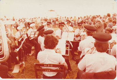 The band playing at the opening of the Historic Village.; 8/03/1980; 2019.100.43