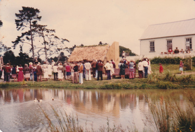 The opening of the Sod Cottage, Howick Historical Village  ; Willis, D and Margaret; 9 November 1980; P2020.43.26