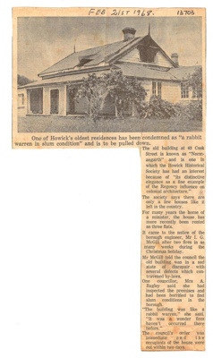 "Newspaper article on ""Normangarth"" on Cook St, 21 Feb 1968. ; 1968; 13703"