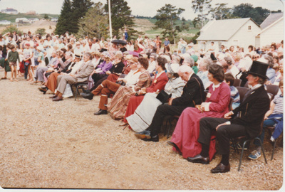 The crowds listening to the speeches at the opening of the Historic Village.; 8/03/1980; 2019.100.40