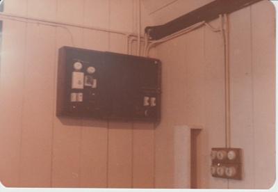 The switchboard in All Saints Church.; La Roche, Alan; 1/10/1989; 2018.231.12