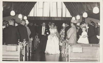 Ernie and Lynette Brickell's wedding day; Beresford Cox, Panmure; c1950; 2018.311.10