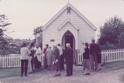 The congregation leaving the Howick Methodist Church in the Howick Historical Village.; September 1983; P2020.38.04