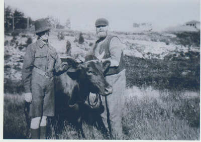 George Wagstaff and Ernie Brickell with a cow..; c1900; 2018.027.11