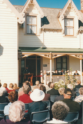 Alan la Roche, Village Director making a speech at the opening of Puhinui after its removal to the site near the village entrance. ; Schofield, Helen; 16 May 2004; P2020.15.01