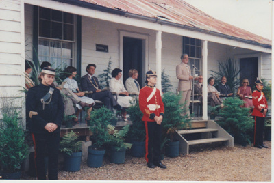The official party on the verandah of Eckfords Homestead.; 8/03/1980; 2019.100.19