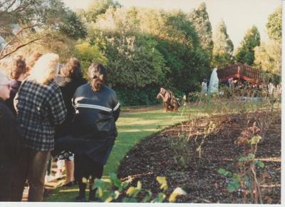 Torere Ngai Tai (Maori Meeting House) in the Garden of Memories.; La Roche, Alan; 29/06/1991; 2019.090.23