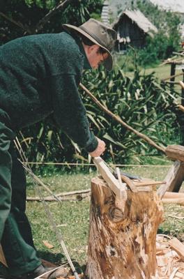 Unnamed man working as a bodger on a pole lathe at Howick Historical Village.; La Roche, Alan; P202187.09