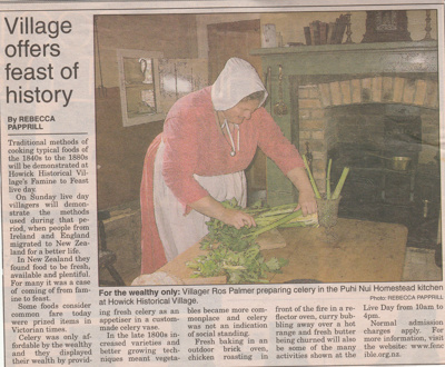 Ros Palmer preparing celery on a kitchen table on a Live Day, HHV.  ; 22 August 2006; 2019.196.13
