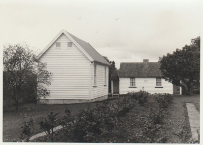 The old Howick Courthouse in the Garden of Memories; La Roche, Alan; 1/09/1969; 2019.093.06