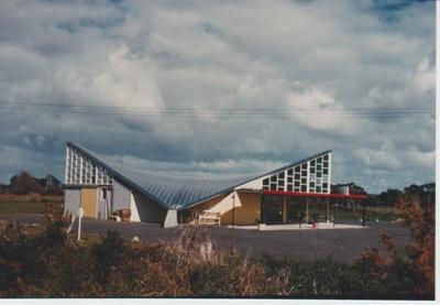 Lloyd Elsmore's hyperbolic peraboloid supermarket building at Pakuranga; La Roche, Alan; 1950; 2018.106.20