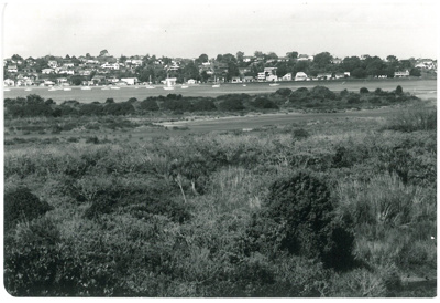 Looking across Tahuna Torea to Bucklands Beach; La Roche, Alan; 1/03/1991; 2016.631.07