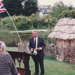 The offical opening ot the mail runner's cottageby  John Pirini, the Howick Postmaster, at Howick Historical Village. ; La Roche, Alan; June 1992; P2021.83.32