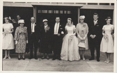 Ernie and Lynette Brickell's wedding day; Beresford Cox, Panmure; c1950; 2018.311.11