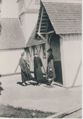 3 ladies outside the entrance to All Saints Church. 1930; Grindrod, Albert; 1930; 2018.219.84