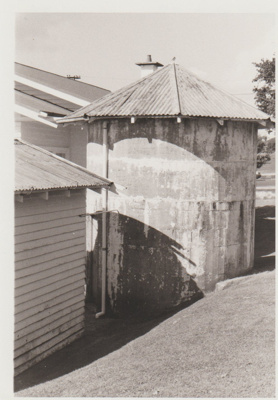 Crawford's dairy and water tank in Picton Street; La Roche, Alan; 1989; 2018.004.92
