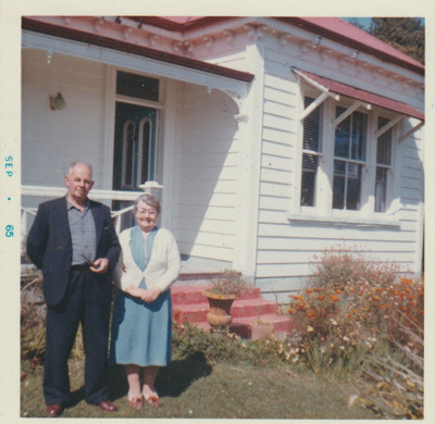 Evelyn and Bert Brickell outside their home in Ridge Road,; c1970; 2018.311.22