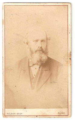 Carte de Visite of bust of unknown man with beard....