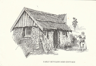 A greeting card of the Sod Cottage, Howick Historical Village.; Kenyon, J; 1989; 2020.47.01