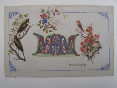 Painted card showing birds, flowers and the illumi...