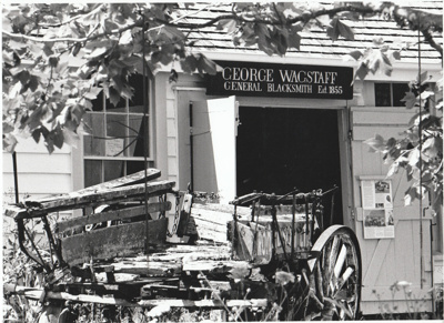 Dufty Bell's dilapidated dray outside Wagstaff's Forge in Howick Historical Village. ; Eastern Courier; P2021.04.01
