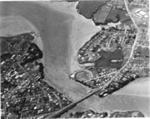 Aerial view of Pakuranga Road and Panmure Bridge across the Tamaki River; Eastern Courier - Fairfax Media NZ Ltd; c. 1965; 3263