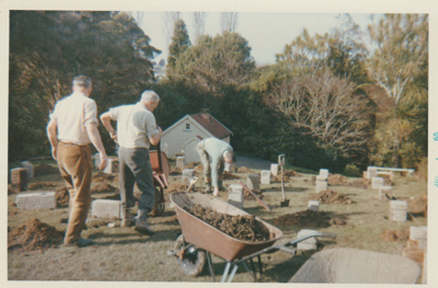 Nelson Blake and others at a working bee in the Garden of Memories, Howick.; Atkinson, K S; 1965; 2019.091.13
