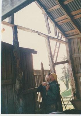 Arthur White inside Singleton's barn; La Roche, Alan; c1990; 2017.352.68