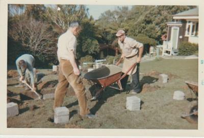Working bee in the Garden Of Memories on Briody-McDaniel Cottage.; Atkinson, K S; c1963; 2019.090.03