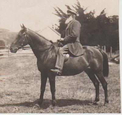 John Gillard on his horse at Waiheke Island.; 2018.352.02