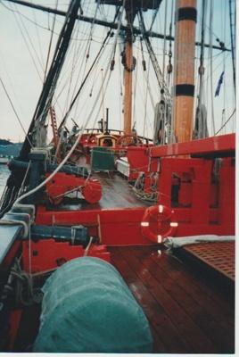 On the deck of Captain Cook's Endeavour replica.; La Roche, Alan; 2017.477.11