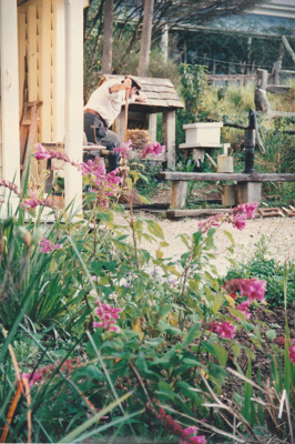 A soldier working in the garden of Sergeant Barry's cottage in Howick Historical Village. ; La Roche, Alan; February 1992; P2020.134.11