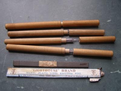 Knitting Pins; Apex and Lighthouse brand England; 1930-1960; O2015.48