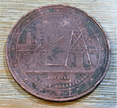 Penny Token minted by George McCaul of Grahamstown...