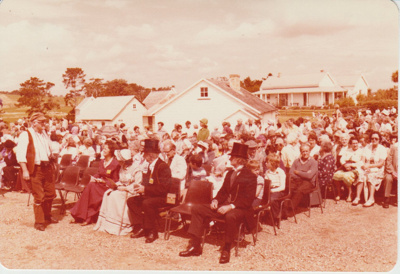 The crowds listening to the speeches at the opening of the Historic Village.; 8/03/1980; 2019.100.39
