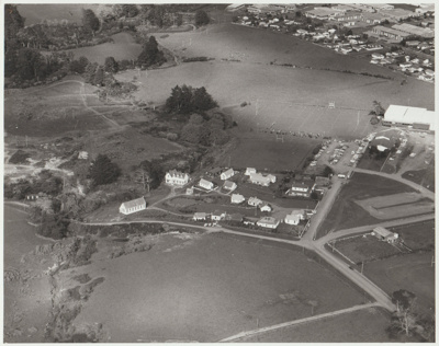 Aerial view of the Howick Historical Village.; Homer, Lloyd New Zealand Geological Survey; 1/08/1982; 2019.104.04