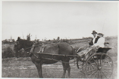 Bert and Evelyn Brickell driving a pony and trap.; Bell, Elsie; c1930; 2017.437.20
