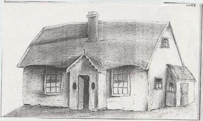 Bill Keenan's house in Picton Street (sketch).; Nixon, Emilia Maud; c1950; 2017.624.21