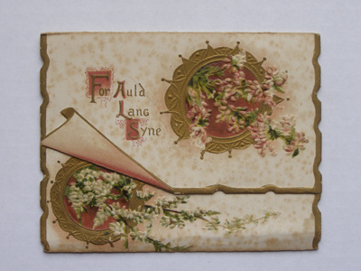 Front: Double folded embossed Christmas card. Two ...
