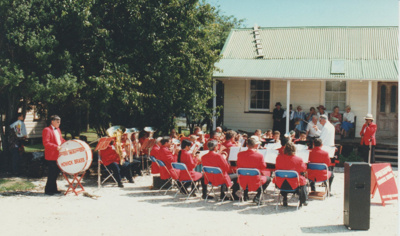 The Howick Locksmith Band performing at the opening of Whites Homestead.; 16/03/1997; 2019.107.01