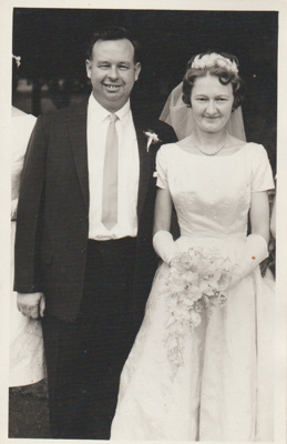 Ernie and Lynette Brickell's wedding day; Beresford Cox, Panmure; c1950; 2018.311.09