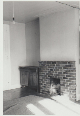 Bell House front room fireplace; La Roche, Alan; 1/04/1973; 2018.052.37