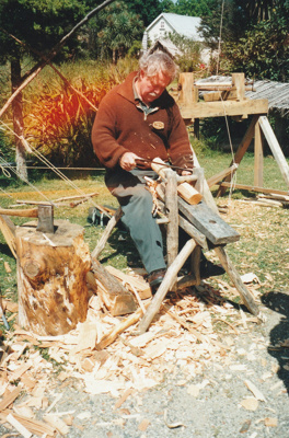 Unnamed man working as a bodger on a pole lathe at Howick Historical Village.; La Roche, Alan; P2021.87.08