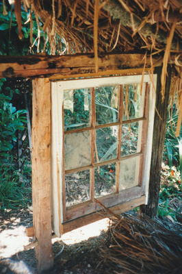 A window in Hemi Pepene's cottage with mortice and tenon joints.; La Roche, Alan; December 2000; P2020.96.15