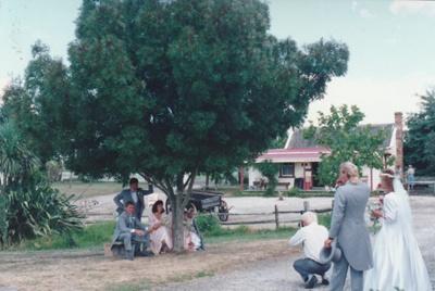The Cossey wedding party in Howick Historical Village. ; Millen, Marcia; 199?; P2021.130.03
