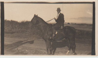 Keith Hattaway on his horse on Botany Road; c1930; 2017.442.27