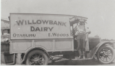 Mr E Woods and his Willowbank Dairy delivery truck..; c1950; 2017.590.43